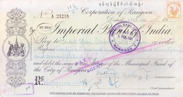IMPERIAL BANK OF INDIA, RANGOON BRANCH CHEQUE OF CORPORATION OF RANGOON - 1951 - USED WITH REVENUE STAMP - Cheques & Traveler's Cheques