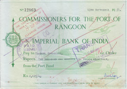 IMPERIAL BANK OF INDIA, RANGOON BRANCH CHEQUE OF COMMISSIONER FOR THE PORT OF RANGOON - 1951 - USED WITH REVENUE STAMP - Cheques & Traveler's Cheques