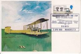 2 CP Maximum N° 558, 559 Raids Aériens De 1919 (traversée De L'Atlantique Et Vol Londres-Darwin) Obl. Manchester 2/4/69 - Cartas Máxima