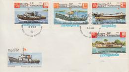 Enveloppe  FDC  1er  Jour   KAMPUCHEA     Bateaux  Fluviaux    1985 - Kampuchea
