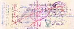 STATE BANK OF INDIA, RANGOON BRANCH - 1959 WARRANT - USED WITH REVENUE STAMP - Cheques & Traveler's Cheques