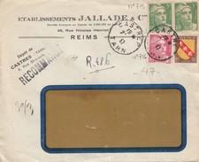 LETTRE FENETRE. 2.47.  RECOMMANDÉ PROVISOIRE CASTRES TARN. AFFR. MULTIPLE. Ets  JALLADE & Cie REIMS / 3 - 1921-1960: Periodo Moderno