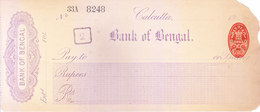 BANK OF BENGAL, CALCUTTA BRANCH - UNUSED CHEQUE WITH 1904 ONE ANNA REVENUE FEE STAMP - Cheques & Traveler's Cheques
