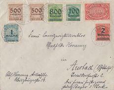 DR Brief Mif Minr.257,290,306,312A,2x 313,314 Aschaffenburg 18.10.23 - Deutschland
