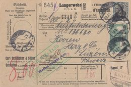 DR Paketkarte Mif Minr.3x 95,104,116 Langerwehe 10.3.21 Gel. In Schweiz - Germania