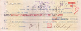 CHINA NATIONAL AVIATION CORPORATION, CALCUTTA BRANCH CHEQUE 1943 - ISSUED ON BANK OF CHINA - USED WITH SIGNATURE SEALS - Cheques & Traveler's Cheques
