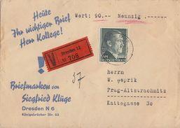 DR Wertbrief EF Minr.799 Berlin Gel. Nach Prag - Briefe U. Dokumente