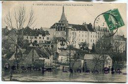 - 6 - SAINT- GAULTIER ( Indre ) - Ecole Supérieure Et Le Moulin, écrite, 1913, Niveau D'eau élevé, TBE, Scans. - France