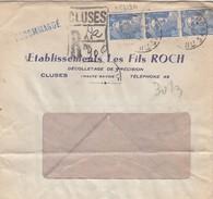 LETTRE FENETRE. 11.3.47. RECOMMANDÉ PROVISOIRE CLUSES HAUTE-SAVOIE . GANDON 4.50F X 3. ROCH DECOLLETAGE DE PRECISION / 3 - Marcophilie (Lettres)