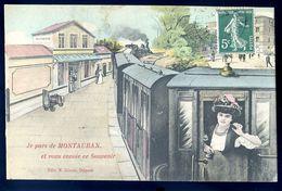 Cpa Du 82 Je Pars De Montauban Et Vous Envoie Ce Souvenir -- Gare Train   SEP17-55 - Montauban