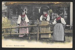 Three Women In Swiss Costumes At Fence SWITZERLAND Used C1905 STK#94284 - Customs