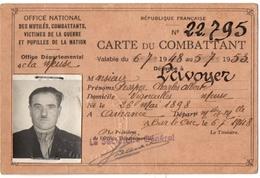 MILITARIA.14-18. VIGNEULLES (55) CARTE Du COMBATTANT DELIVREE à BAR-le-DUC. - Documenti Storici