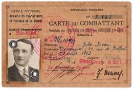 MILITARIA.14-18. BESANCON (25) CARTE Du COMBATTANT DELIVREE à STRASBOURG. - Documentos Históricos