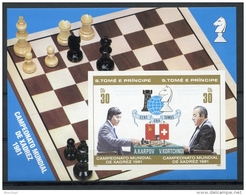 Sao Tome And Principe, 1981, Chess, Echec, MNH Imperf Sheet, VERY WEAK BLUE Overprint, Michel Block 68II - Sao Tome Et Principe