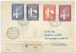 ESPOSIZIONE UNIVERSALE BRUXELLES - 1958 - Serie Completa Su Raccomandata Per Bologna Con Annullo Del Primo Giorno - FDC - Storia Postale