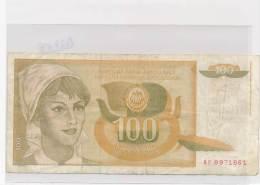 Billets - B2787 -Yougoslavie -100 Dinara (type, Nature, Valeur, état... Voir  Double Scans) - Yugoslavia