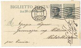 R760) V.E.III BIGLIETTO POSTALE 30 C. MICHETTI MILL. 25 VIAGGIATO - 1900-44 Vittorio Emanuele III