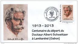 Cachet Temporaire + Timbre Personnalisé Albert SCHWEITZER Expo KAYSERSBERG 100 Ans Départ Gabon T1 - Albert Schweitzer