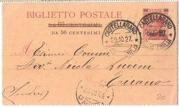 R766) V.E.III BIGLIETTO POSTALE 50 SU 60 C. MICHETTI MILL. 26 VIAGGIATO - 1900-44 Vittorio Emanuele III