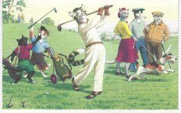 CPA FANTAISIE CHATS HUMANISES - La Partie De Golf - Dressed Animals