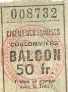 TICKET ENTREE CINEMA Des FAMILLES COULOMMIERS 50 Fr BALCON - Tickets D'entrée