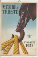 TRIESTE ITALIE AFFICHETTE CARTON FORMAT 17CMX24CM DE LA FOIRE TRIESTE ANNEE 1953 TRES BON ETAT AVEC ATTACHE DE FIXATION - Afiches