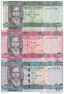 SOUTH SUDAN 1 5 10 POUND 2011 P-5 6 7 UNC LOT SET */* - South Sudan
