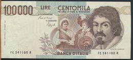 °°° ITALIA - 100000 LIRE CARAVAGGIO I° TIPO 06/03/1992 SERIE FE °°° - [ 2] 1946-… : Républic