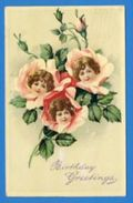 Three Little Girls Heads Pink Roses ~ BIRTHDAY GREETINGS ~ FARERAGUT?  IOWA / SHENANDOAH IOWA 1910 - Compleanni
