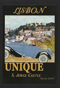 ART POSTCARD PORTUGAL LISBON  S. JORGE CASTLE & Cabriotet Classic Car Cars Z1 - Postcards
