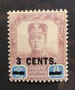 Johore 1912 3c On 8c Dull Purple & Blue MM BK678 - Johore