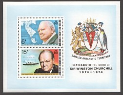 BAT  1974  Centenaire De La Naissance De Churchill Bloc ** - Territoire Antarctique Britannique  (BAT)