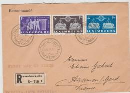 Lux163 /  LUXEMBURG -  Europa 1951, 1, 2, 4 Fr. Auf Gelaufenem FDC-Einschreiben - Briefe U. Dokumente