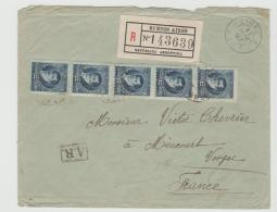 Arg001 / Einschreiben AR Per Franz. Schiffspost 1897 (5-er Streifen) - Briefe U. Dokumente