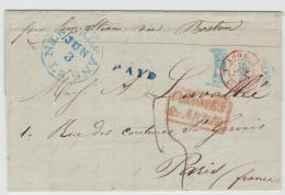 USA001b / New Orleans 1847, Paid Via Boston Nach Paris - 1845-47 Emissions Provisionnelles