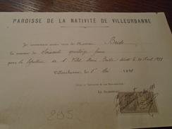1898- FACTURE De VILLEURBANNE  ++ TP / QUITTANCES   N° 11 - 1 Photo - Fiscaux