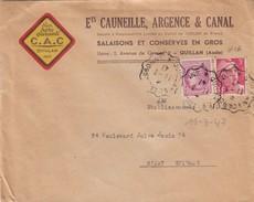 LETTRE. 11.3.47. AMBULANT QUILLAN à CARCASSONE. GANDON MAZELIN. Ets CAUNEILLE, ARGENCE & CANAL SALAISON PORC CAC QUILLAN - Postmark Collection (Covers)