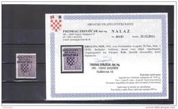 KUR44  KROATIEN  (HRVATSKA) 1941 Michl 1 PORTO  DDDI Dreifacher Aufdruck,davon 2 Blind Mit ATTEST FALZSPUR - Kroatien