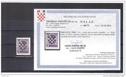 KUR43  KROATIEN  (HRVATSKA) 1941 Michl 21 DD I Doppelter Aufdruck,davon Einer Blind Mit ATTEST  Postfrisch - Kroatien