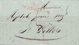 """PYRENEES-ORIENTALES - 65 PERPIGNAN (ROUGE) DU 7 NOVEMBRE 1818 - LETTRE ET SIGNATURE """"MARTIN FRERES"""" ( P1) - Marcophilie (Lettres)"""