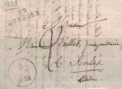 SEINE ET OISE - 72 GONESSE - LE 9 JUIN 1828 - LETTRE AVEC TEXTE ET SIGNATURE.( P1) - Marcophilie (Lettres)