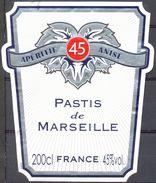 1543 - Apéritif Anisé - 45 - Pastis De Marseille - 200 Centilitres -45% Col. - Labels