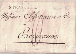 """BAS-RHIN - 67 STRASBOURG (42x12)- LE 30 JUIN 1813 - LETTRE AVEC TEXTE ET SIGNATURE """"LECLAIR CHAPUIS"""" ( P1) - Marcophilie (Lettres)"""
