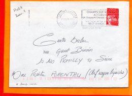 SEINE ET MARNE, Champs Sur Marne, Flamme à Texte, Championnat De France Footbzll De Salle, 18-19 Nov. 2000 - Postmark Collection (Covers)