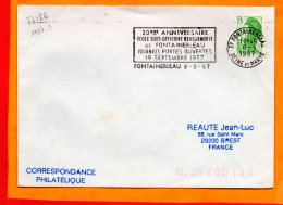 SEINE ET MARNE, Fontainebleau, Flamme à Texte, 20e Anniversaire Ecole Gendarmerie, 19 Qeptembre 1987 - Marcophilie (Lettres)