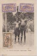 CPA CONGO Ethnic Ethnique Enfants Bacouli 3 Timbres Stamps 1912 - Congo Francese - Altri