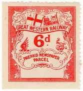 (I.B) Great Western Railway : Newspaper Parcel 6d - 1840-1901 (Victoria)