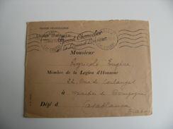 Paris 2 Rue De Courty 5 Lignes Ondulees Flamme Krag Lettre En Franchise Legion Honneur - Postmark Collection (Covers)