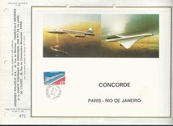 FEUILLET ARTISTIQUE ET ENVELOPPE AU DOS CONCORDE OCEANIE PARIS RIO DE JANEIRO ARDENNES PHILATELIE CHARLEVILLE ANNEE 1976 - Sheetlets