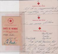 Thème CROIX ROUGE : 1 Lettre1945  (3p. 14x21) + 1 Carte De Membre 1945 (7x10.5) O. Louchx - Non Classificati